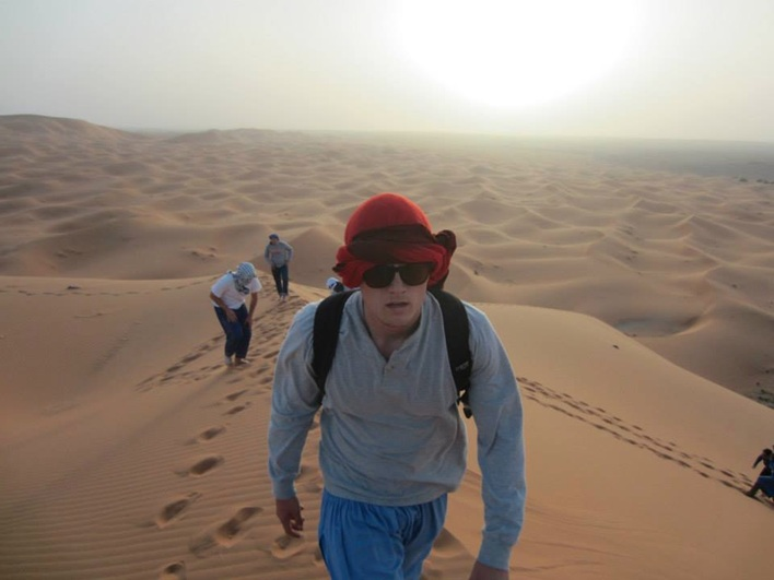 Nick Castans, a KU student, traverses the dunes of the Sahara in Morocco