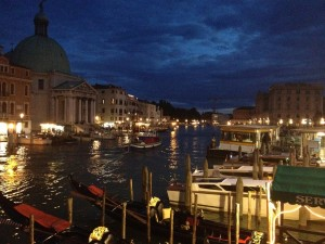 Venice at night during an unusually high tide