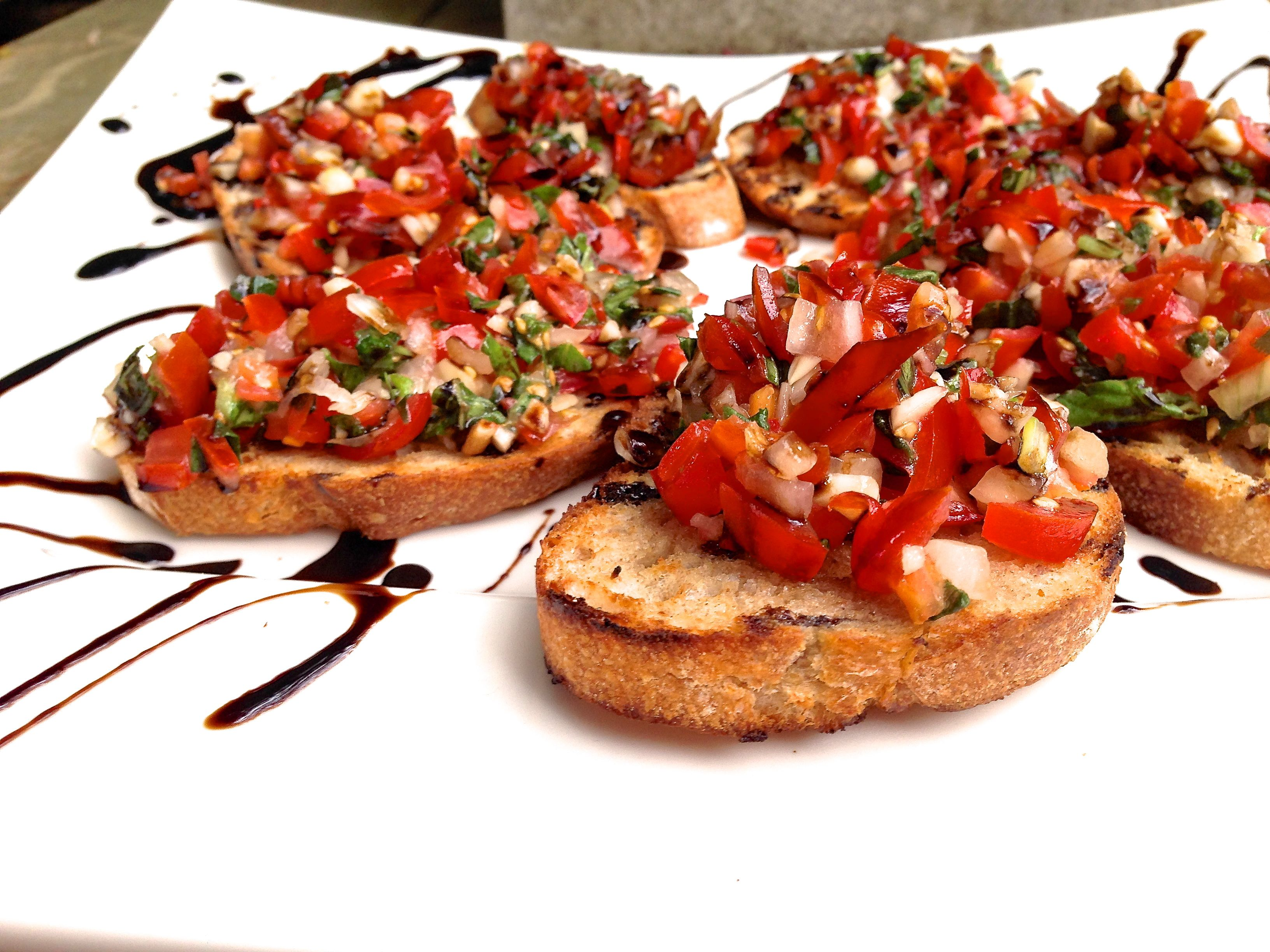 BRUSCHETTA – grilled bread generally topped with olive oil, tomatoes ...