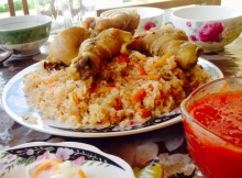 Plov, a popular dish in Kyrgyzstan that I learned how to make while studying there.